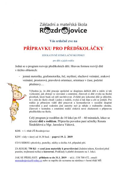 Obec Rozdrojovice Vzdelavaci Instituce Skolka Aktuality